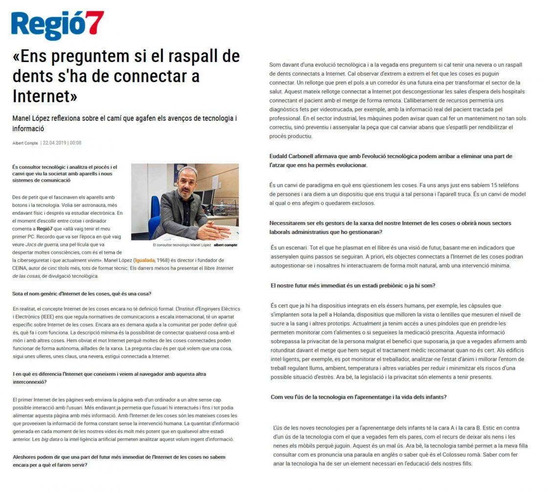 IOT, TECNOLOGIA, INFORMACIÓ, REGIO7