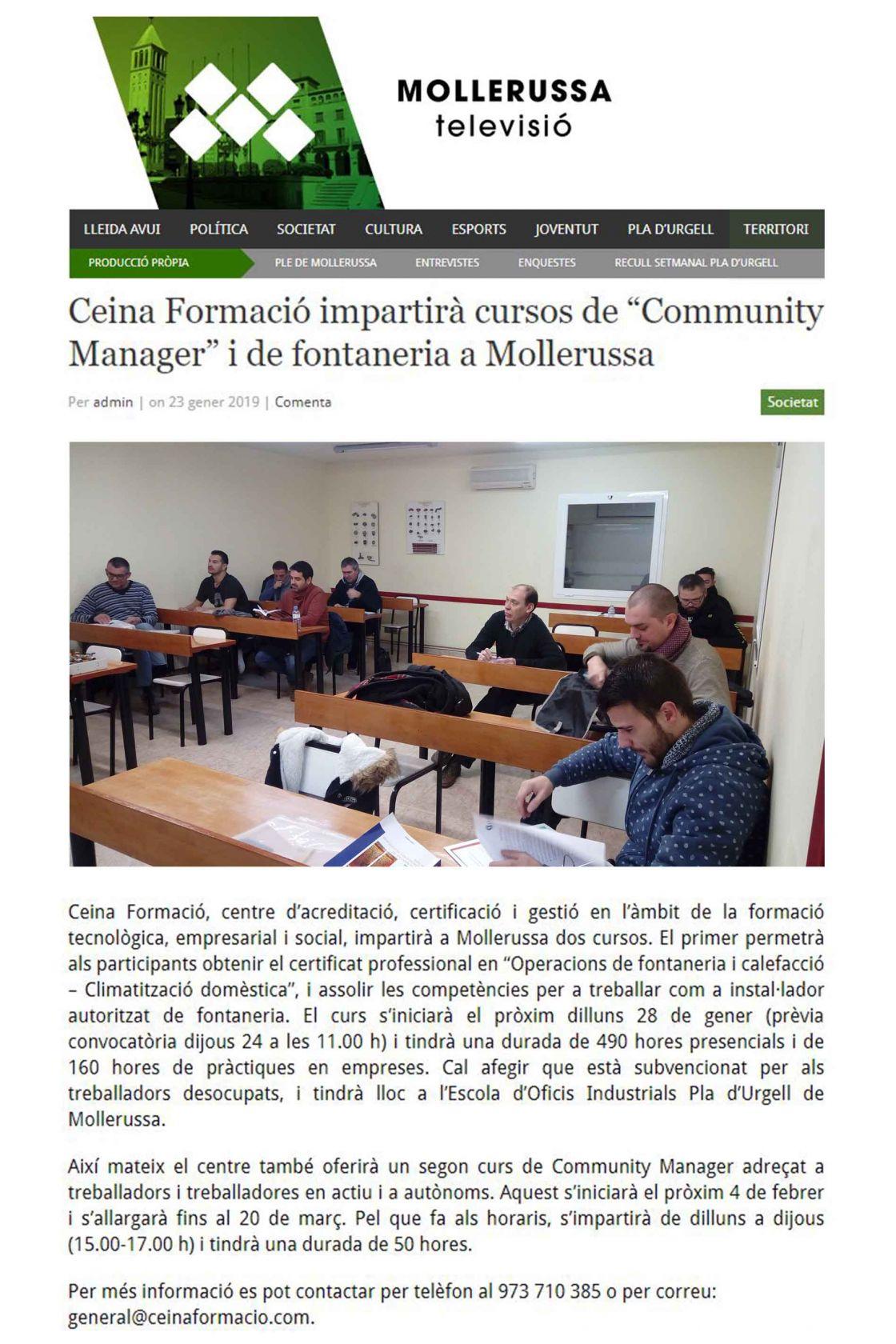 Mollerusa FORMACIÓ notícia