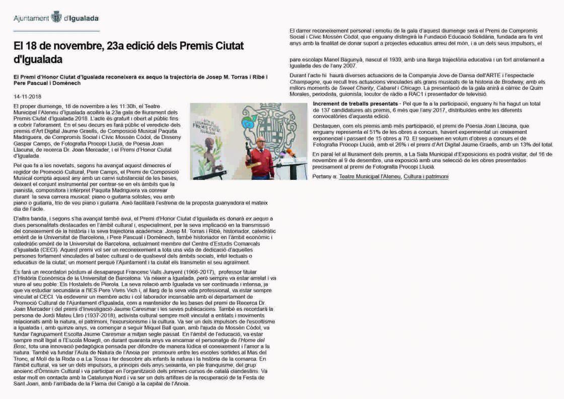 23a edició dels Premis Ciutat d'Igualada — Ajuntament d'Igualada ()