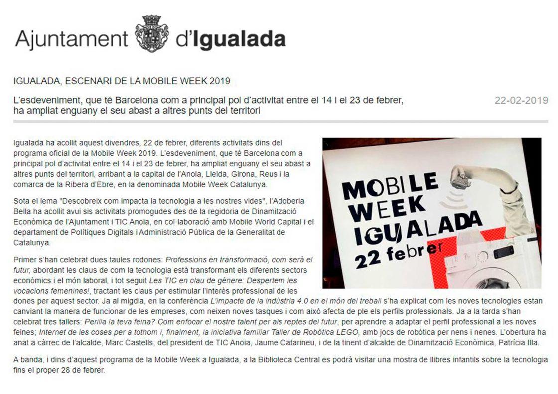 ESCENARI DE LA MOBILE WEEK 2019