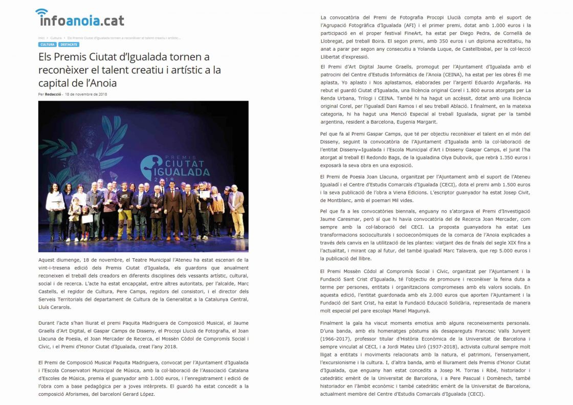Premis ciutat d'Igualada 2018   Infoanoia