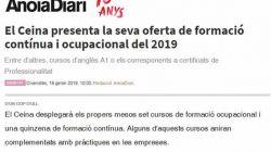 El Ceina presenta la seva oferta de formació contínua i ocupacional del 2019