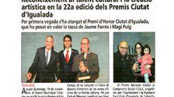 Reconeixement al talent cultural i la creació artística en la 22a edició dels Premis Ciutat d'Igualada