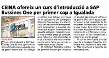 CEINA ofereix el primer curs d'introducció a SAP Business One a Igualada