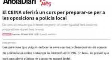 El CEINA oferirà un curs per preparar-se per a les oposicions a policia local