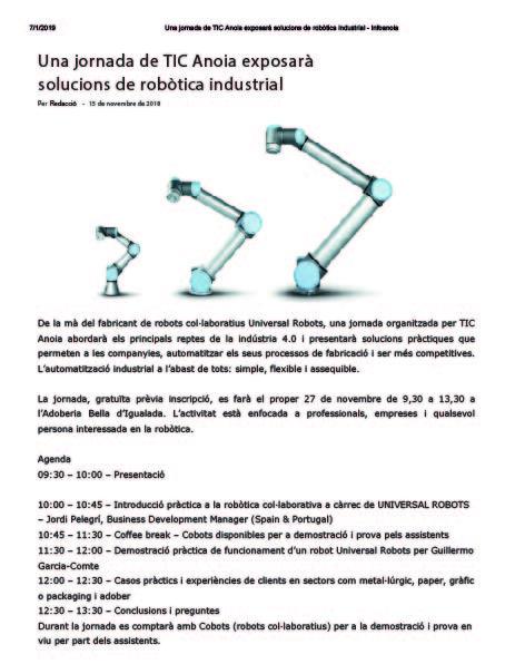 Una jornada de TIC Anoia exposarà solucions de robòtica industrial   Infoanoia