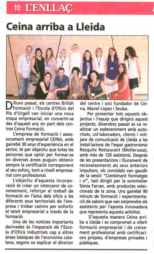 Enllaç (20 juliol 17) Ceina a Lleida