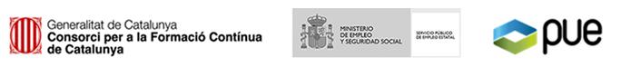Logotips entitats subvencionadores formació continua (PUE)