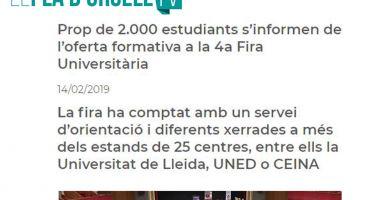 Cerca de 2.00 estudiantes se informan de la oferta formativa de la 4a Feria Universitaria en Lleida.